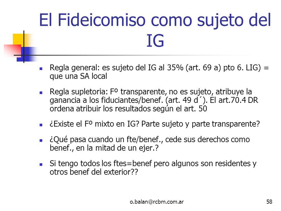 El Fideicomiso como sujeto del IG