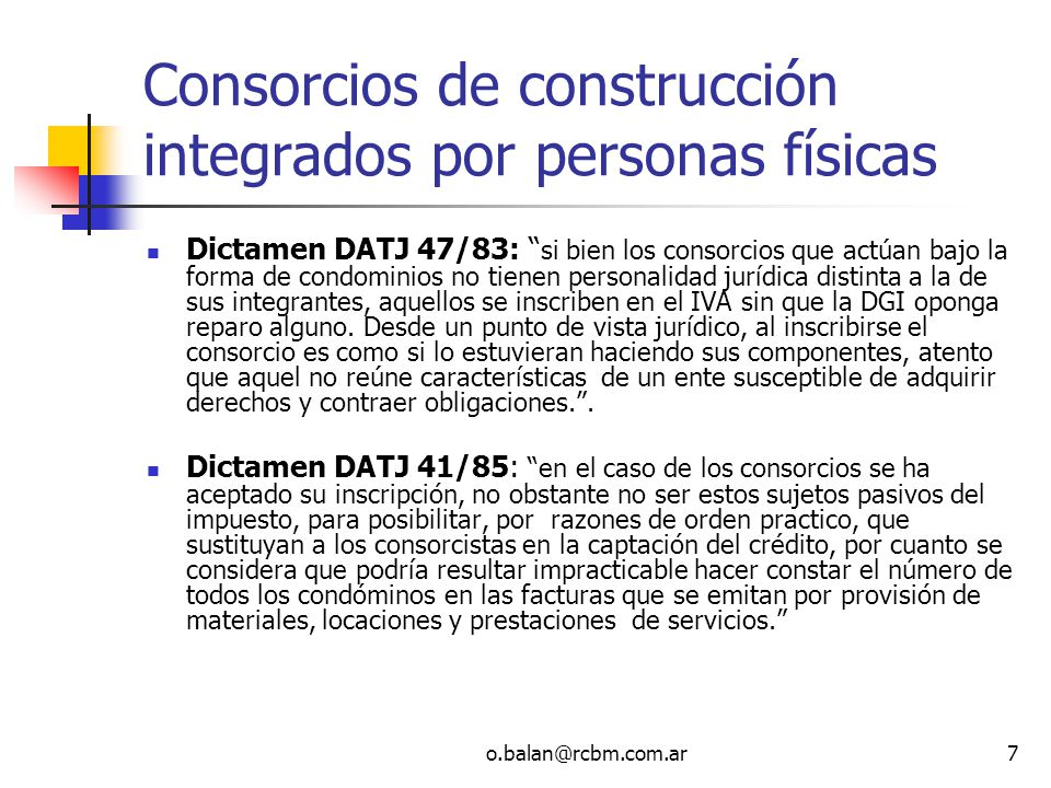 Consorcios de construcción integrados por personas físicas