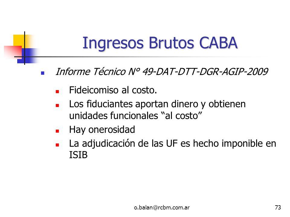 Ingresos Brutos CABA Informe Técnico N° 49-DAT-DTT-DGR-AGIP-2009