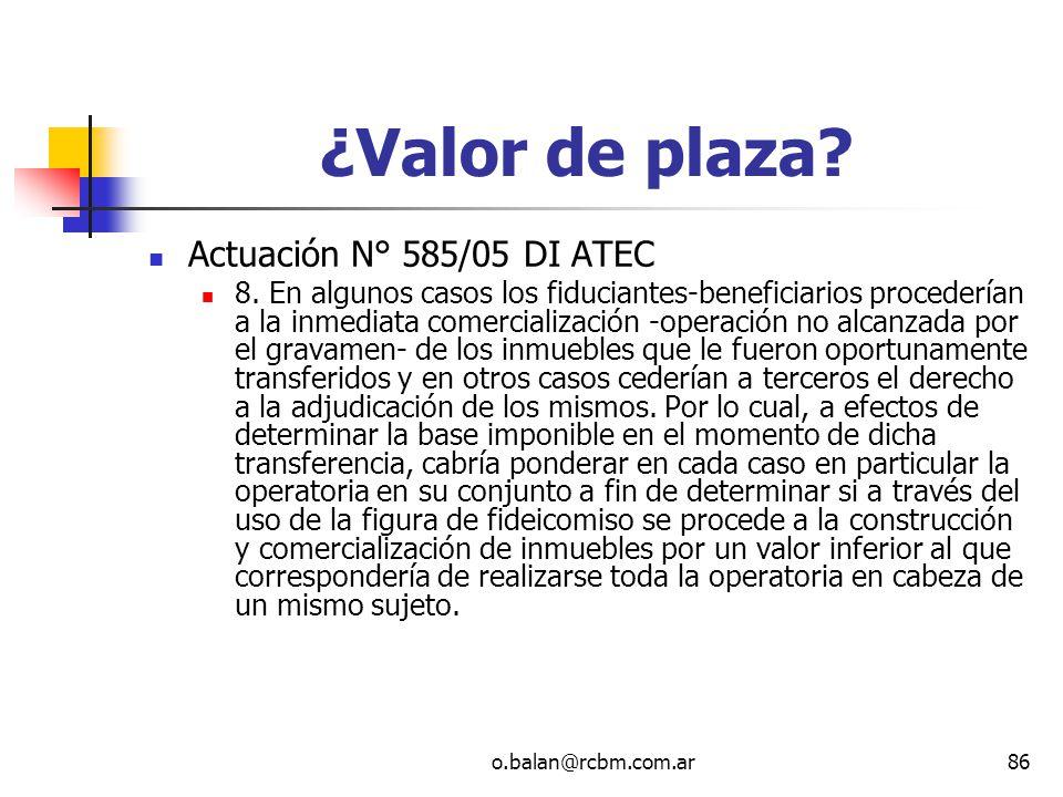 ¿Valor de plaza Actuación N° 585/05 DI ATEC