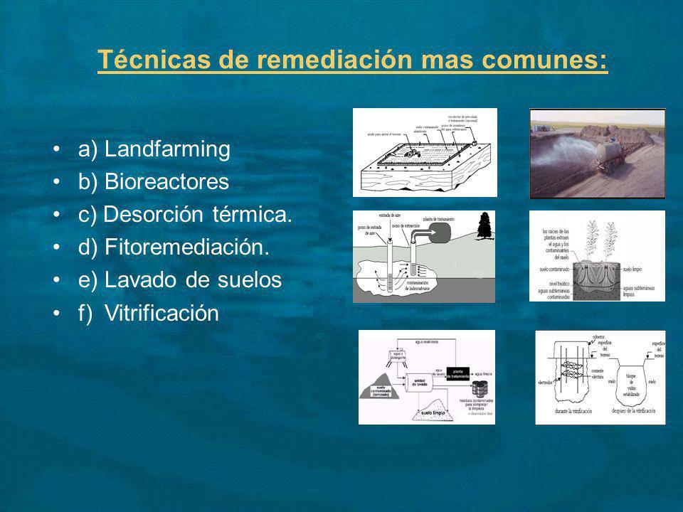 Técnicas de remediación mas comunes: