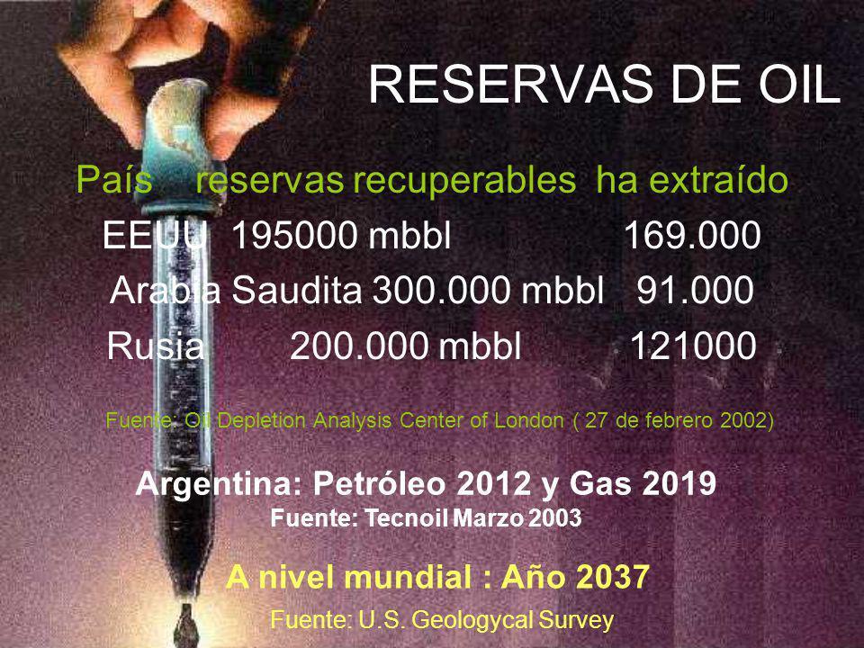 Argentina: Petróleo 2012 y Gas 2019 Fuente: Tecnoil Marzo 2003