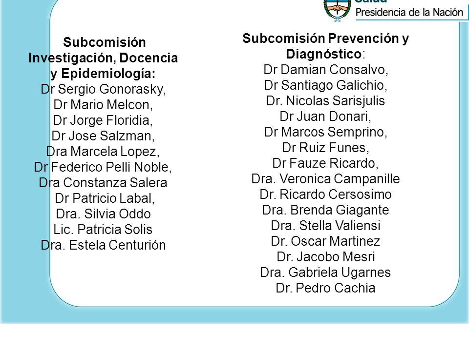 Subcomisión Prevención y Diagnóstico: Dr Damian Consalvo,