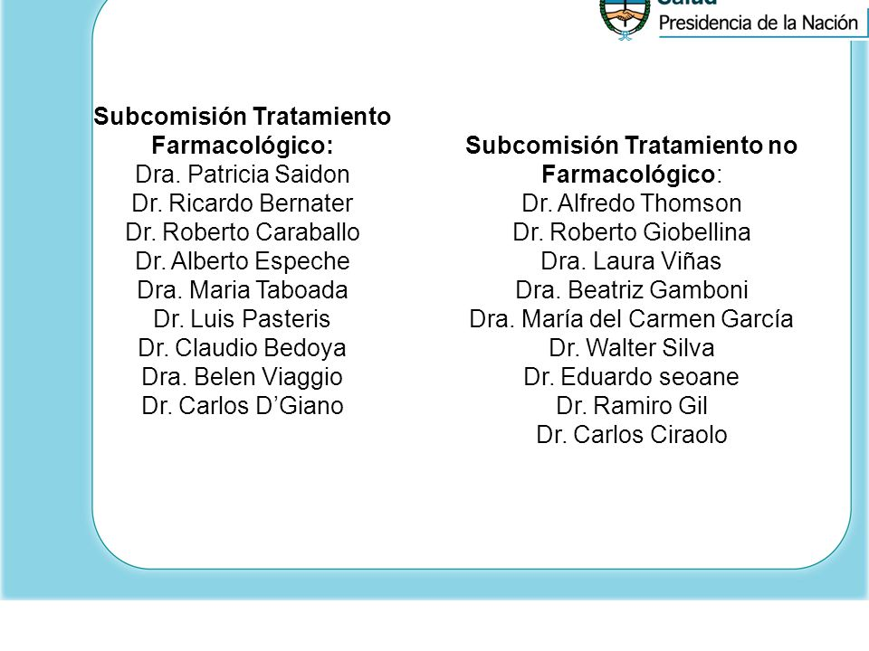 Subcomisión Tratamiento Farmacológico: