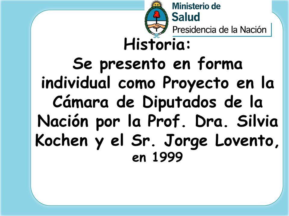 Historia: Se presento en forma individual como Proyecto en la Cámara de Diputados de la Nación por la Prof.