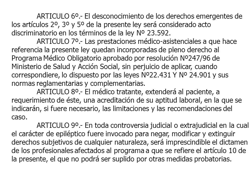ARTICULO 6º.- El desconocimiento de los derechos emergentes de los artículos 2º, 3º y 5º de la presente ley será considerado acto discriminatorio en los términos de la ley Nº 23.592.