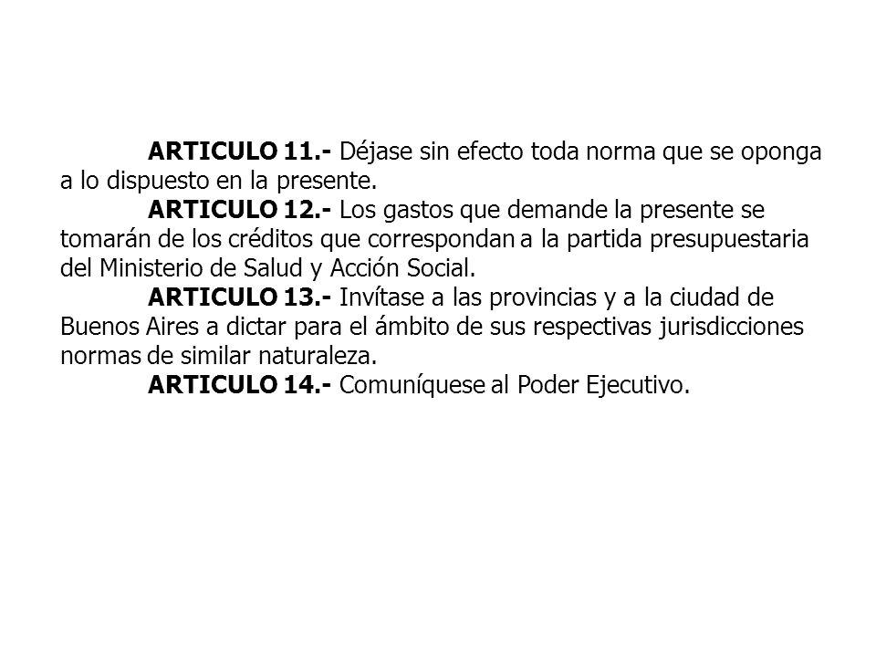 ARTICULO 11.- Déjase sin efecto toda norma que se oponga a lo dispuesto en la presente.