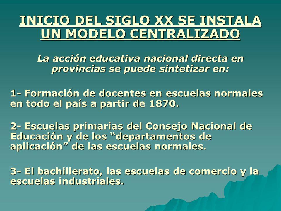 INICIO DEL SIGLO XX SE INSTALA UN MODELO CENTRALIZADO