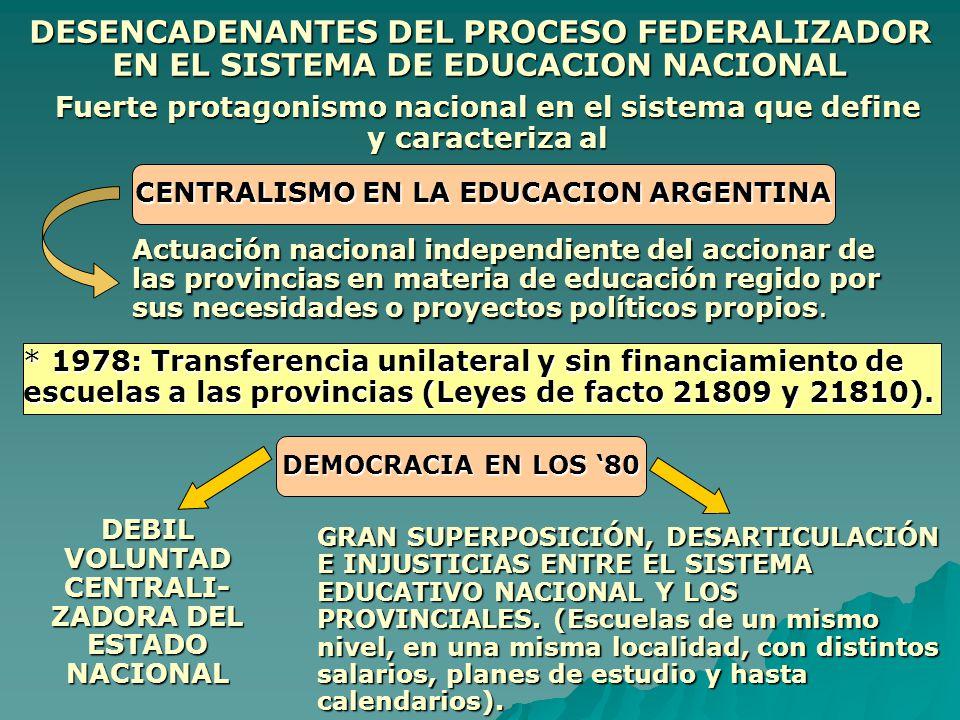 DESENCADENANTES DEL PROCESO FEDERALIZADOR EN EL SISTEMA DE EDUCACION NACIONAL