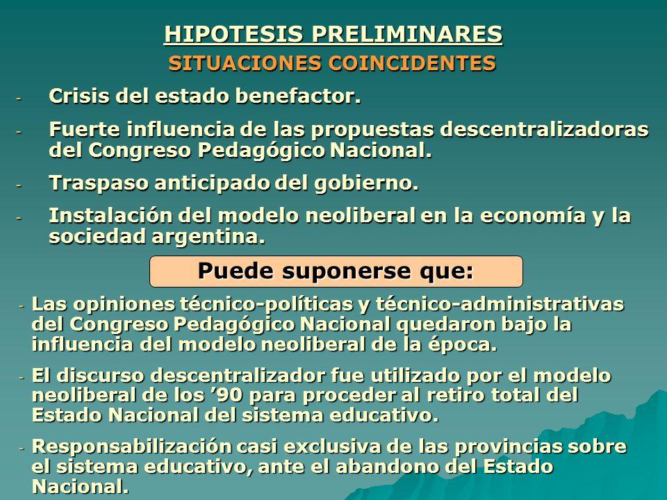 HIPOTESIS PRELIMINARES SITUACIONES COINCIDENTES