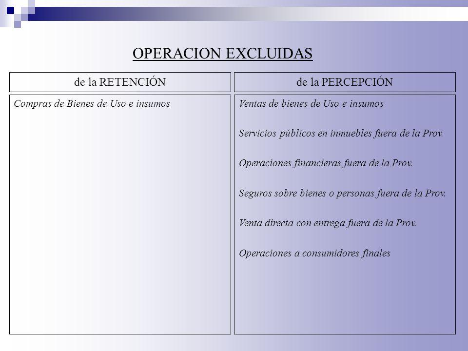 OPERACION EXCLUIDAS de la RETENCIÓN de la PERCEPCIÓN