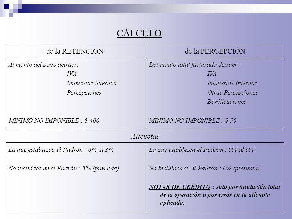 CÁLCULO de la RETENCION de la PERCEPCIÓN Alícuotas