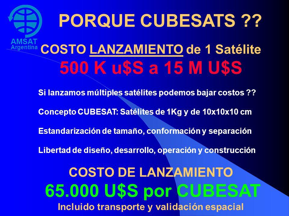 PORQUE CUBESATS 500 K u$S a 15 M U$S