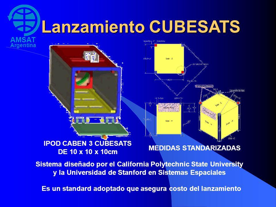 Lanzamiento CUBESATS IPOD CABEN 3 CUBESATS DE 10 x 10 x 10cm