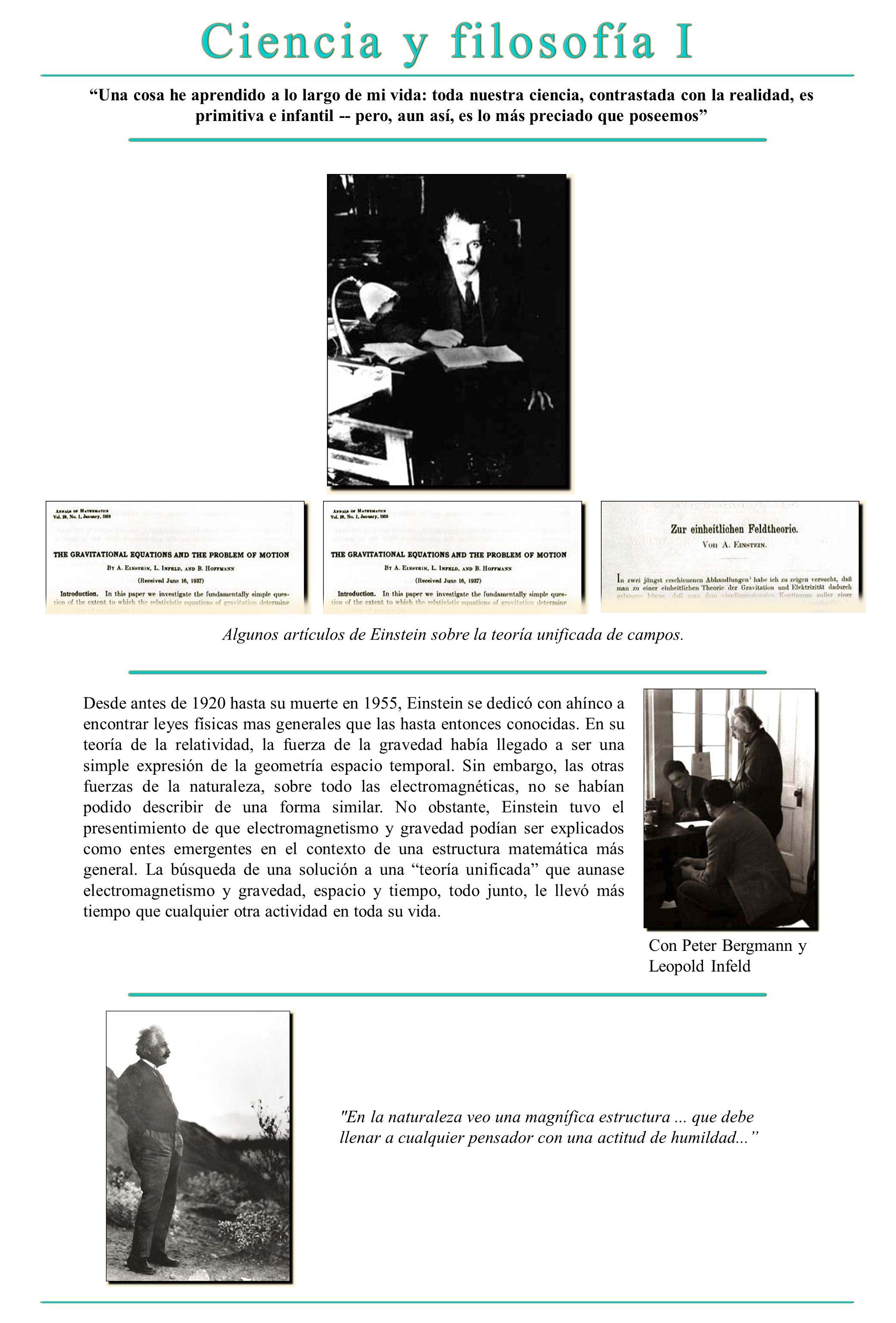 Algunos artículos de Einstein sobre la teoría unificada de campos.