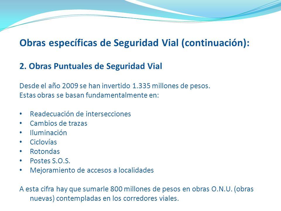 Obras específicas de Seguridad Vial (continuación):
