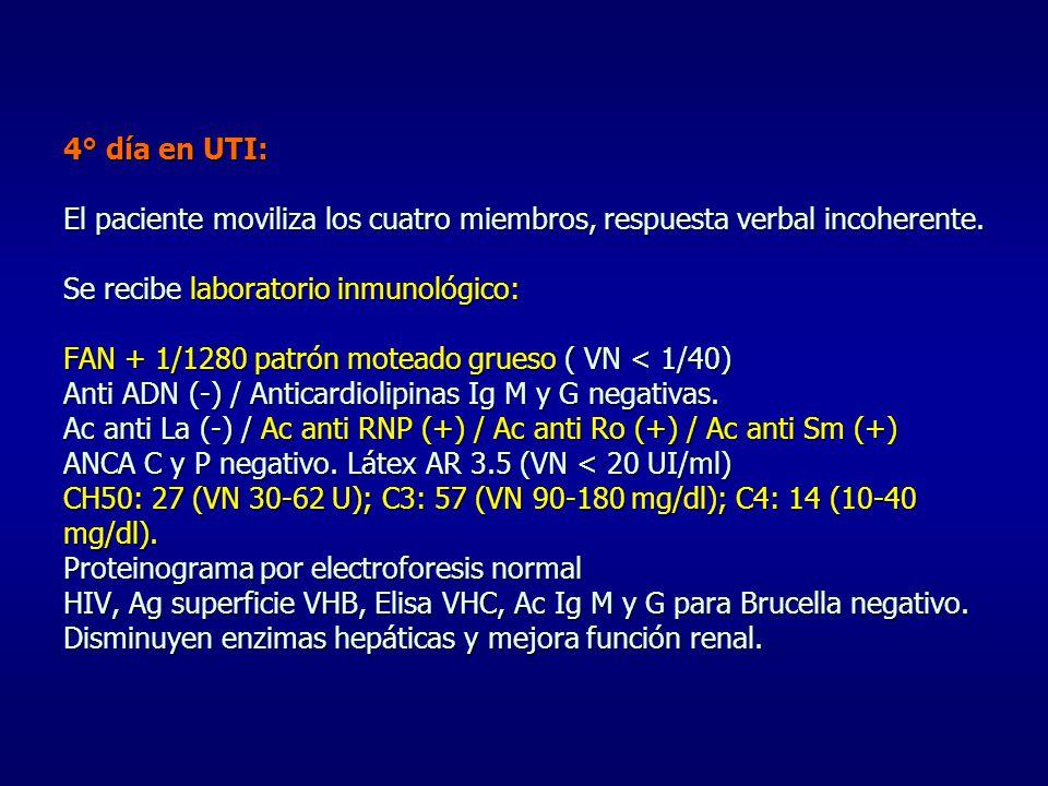 4° día en UTI: El paciente moviliza los cuatro miembros, respuesta verbal incoherente.
