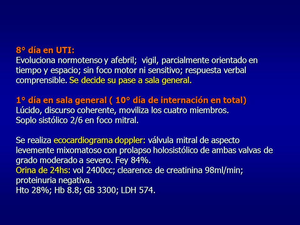 8° día en UTI: Evoluciona normotenso y afebril; vigil, parcialmente orientado en tiempo y espacio; sin foco motor ni sensitivo; respuesta verbal comprensible.