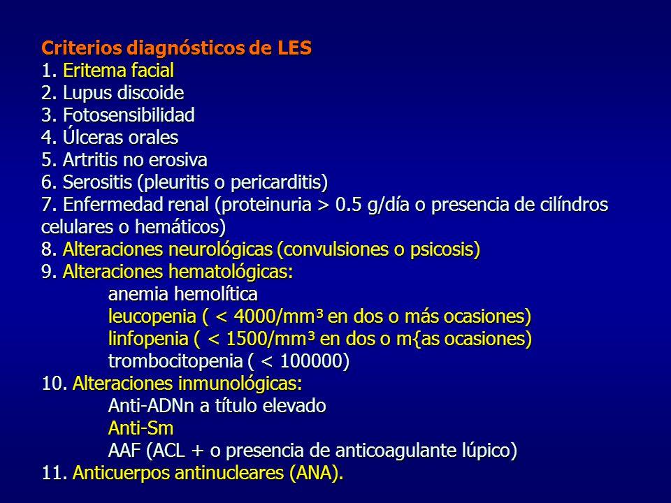 Criterios diagnósticos de LES 1. Eritema facial 2. Lupus discoide 3