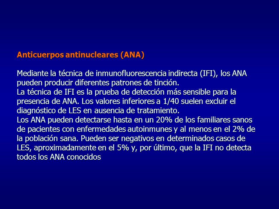 Anticuerpos antinucleares (ANA) Mediante la técnica de inmunofluorescencia indirecta (IFI), los ANA pueden producir diferentes patrones de tinción.