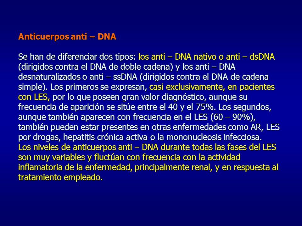 Anticuerpos anti – DNA Se han de diferenciar dos tipos: los anti – DNA nativo o anti – dsDNA (dirigidos contra el DNA de doble cadena) y los anti – DNA desnaturalizados o anti – ssDNA (dirigidos contra el DNA de cadena simple).