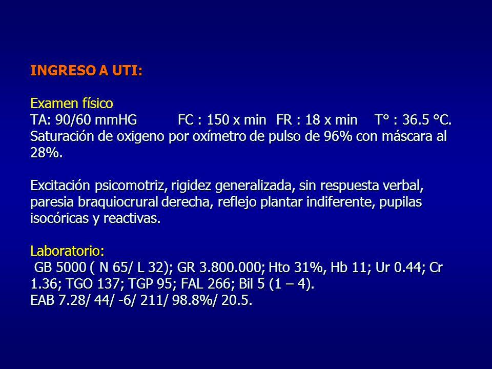 INGRESO A UTI: Examen físico TA: 90/60 mmHG. FC : 150 x min