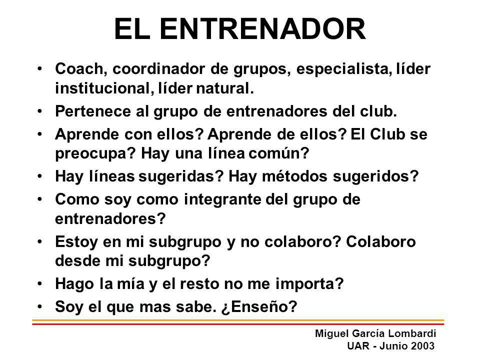 EL ENTRENADOR Coach, coordinador de grupos, especialista, líder institucional, líder natural. Pertenece al grupo de entrenadores del club.