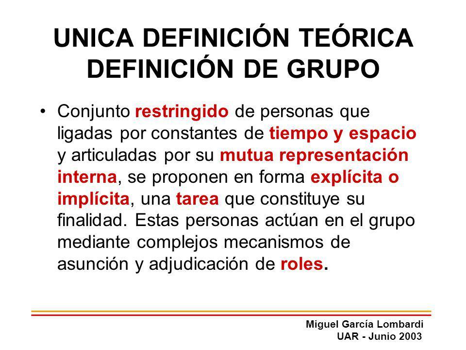 UNICA DEFINICIÓN TEÓRICA DEFINICIÓN DE GRUPO