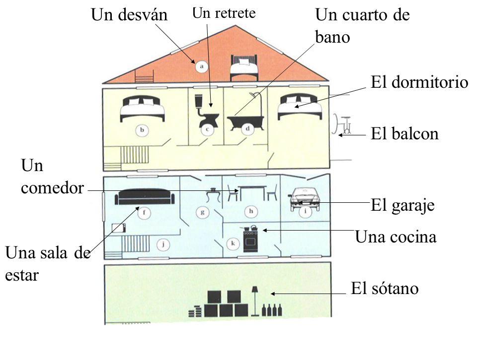 Un desván Un cuarto de bano El dormitorio El balcon Un comedor