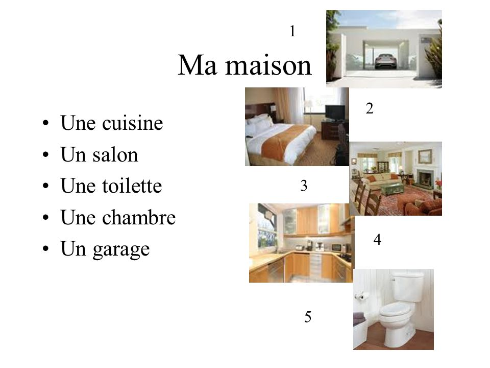 Ma maison Une cuisine Un salon Une toilette Une chambre Un garage 1 2