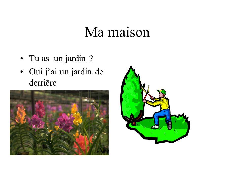 Ma maison Tu as un jardin Oui j'ai un jardin de derriēre
