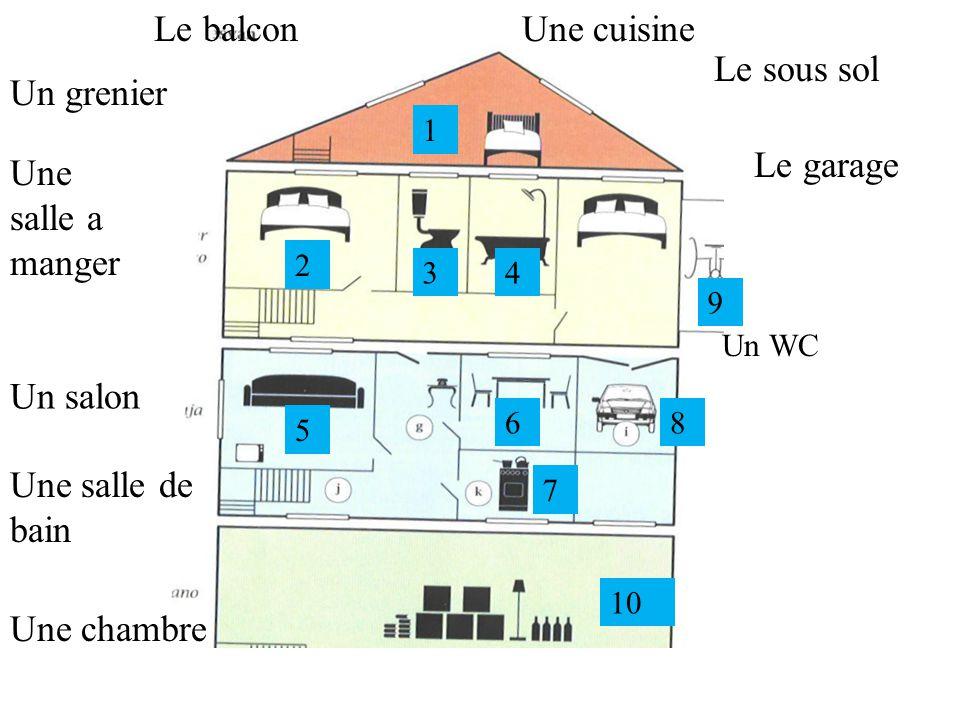 Le balcon Une cuisine Le sous sol Un grenier Le garage