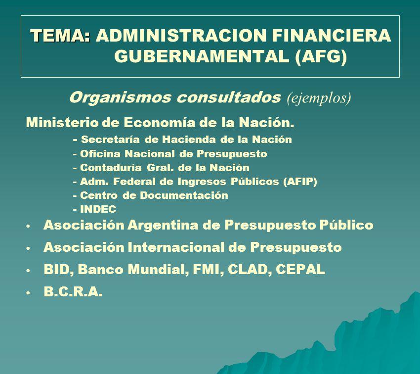 TEMA: ADMINISTRACION FINANCIERA GUBERNAMENTAL (AFG)