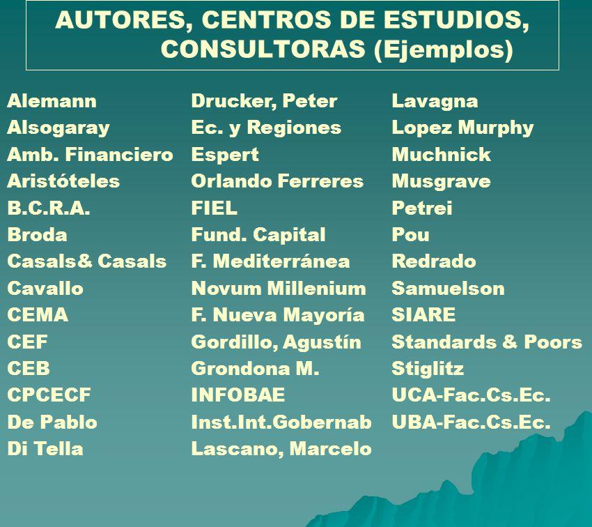AUTORES, CENTROS DE ESTUDIOS, CONSULTORAS (Ejemplos)