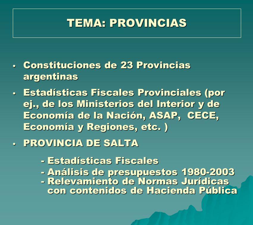 TEMA: PROVINCIAS Constituciones de 23 Provincias argentinas