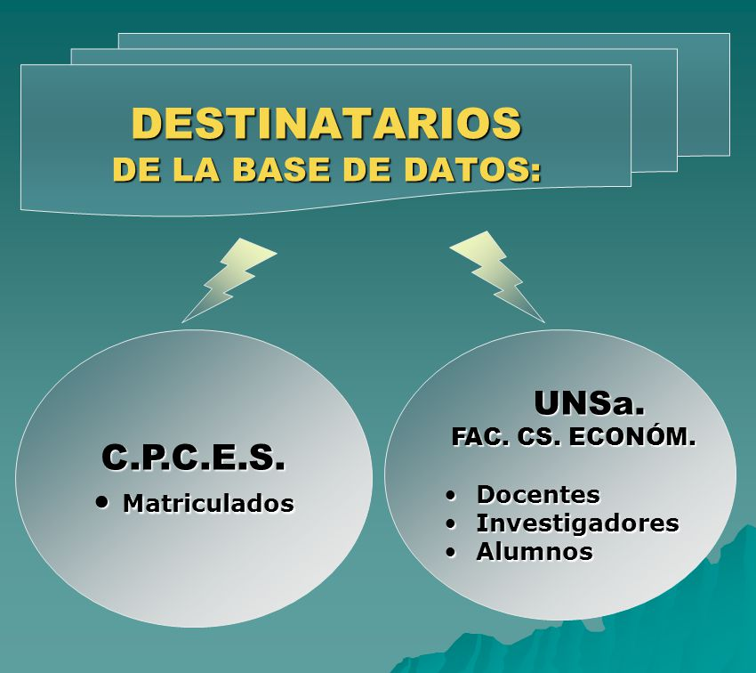 DESTINATARIOS DE LA BASE DE DATOS: