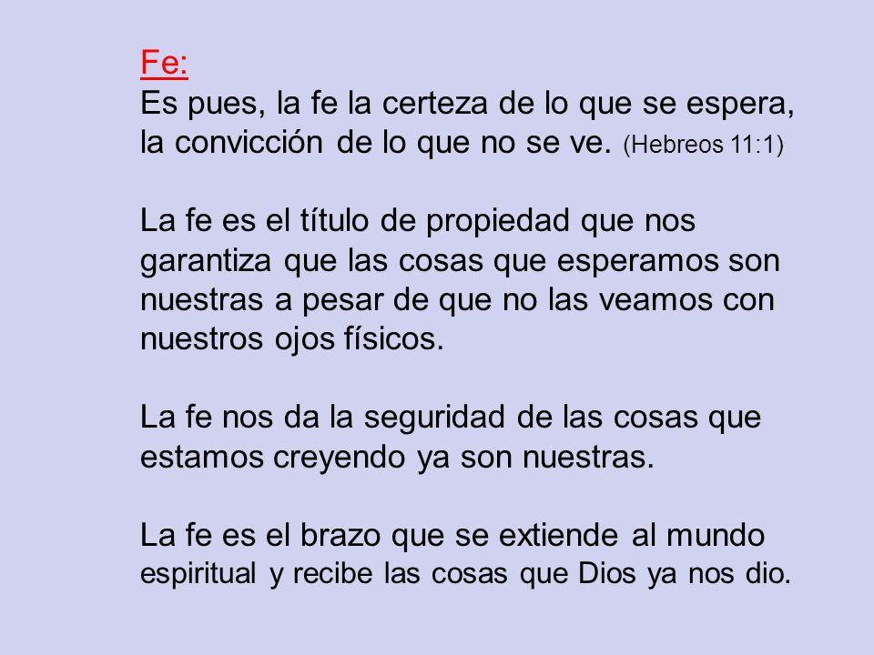 Fe: Es pues, la fe la certeza de lo que se espera, la convicción de lo que no se ve. (Hebreos 11:1)