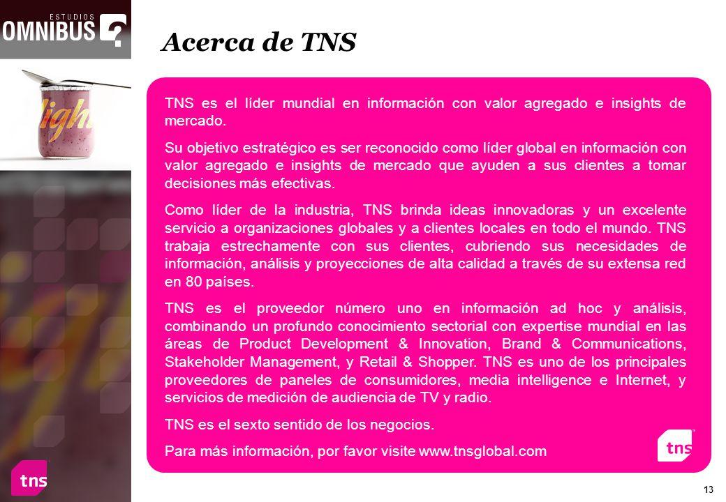Acerca de TNS TNS es el líder mundial en información con valor agregado e insights de mercado.
