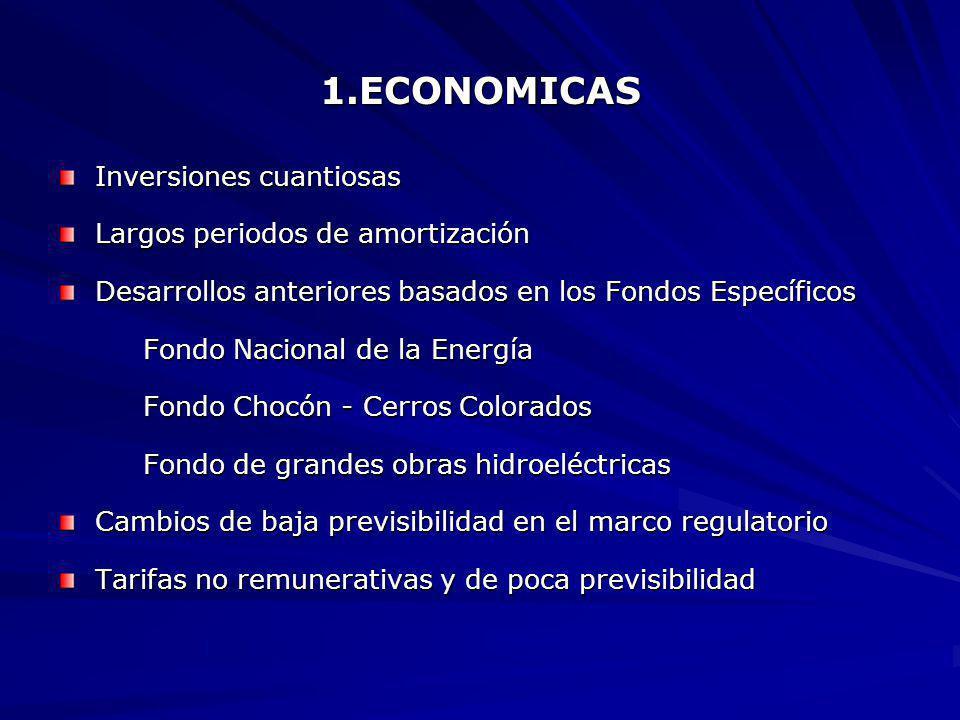 1.ECONOMICAS Inversiones cuantiosas Largos periodos de amortización