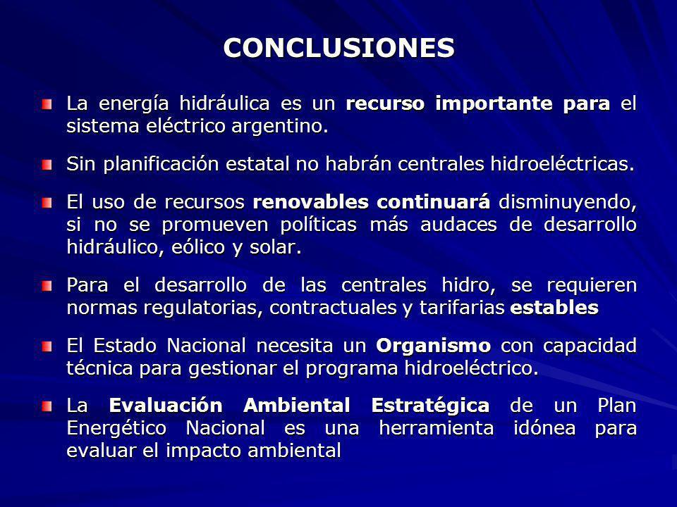 CONCLUSIONES La energía hidráulica es un recurso importante para el sistema eléctrico argentino.