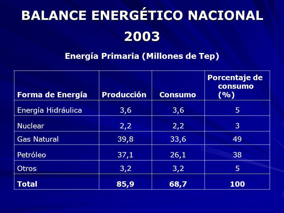 BALANCE ENERGÉTICO NACIONAL 2003