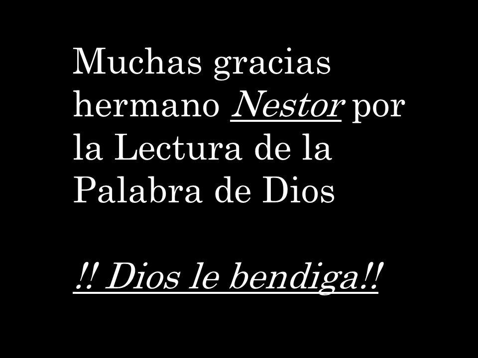 Muchas gracias hermano Nestor por la Lectura de la Palabra de Dios