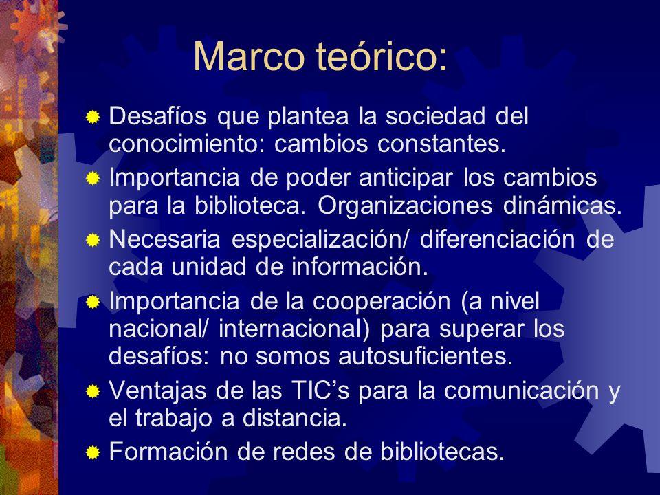 Marco teórico: Desafíos que plantea la sociedad del conocimiento: cambios constantes.