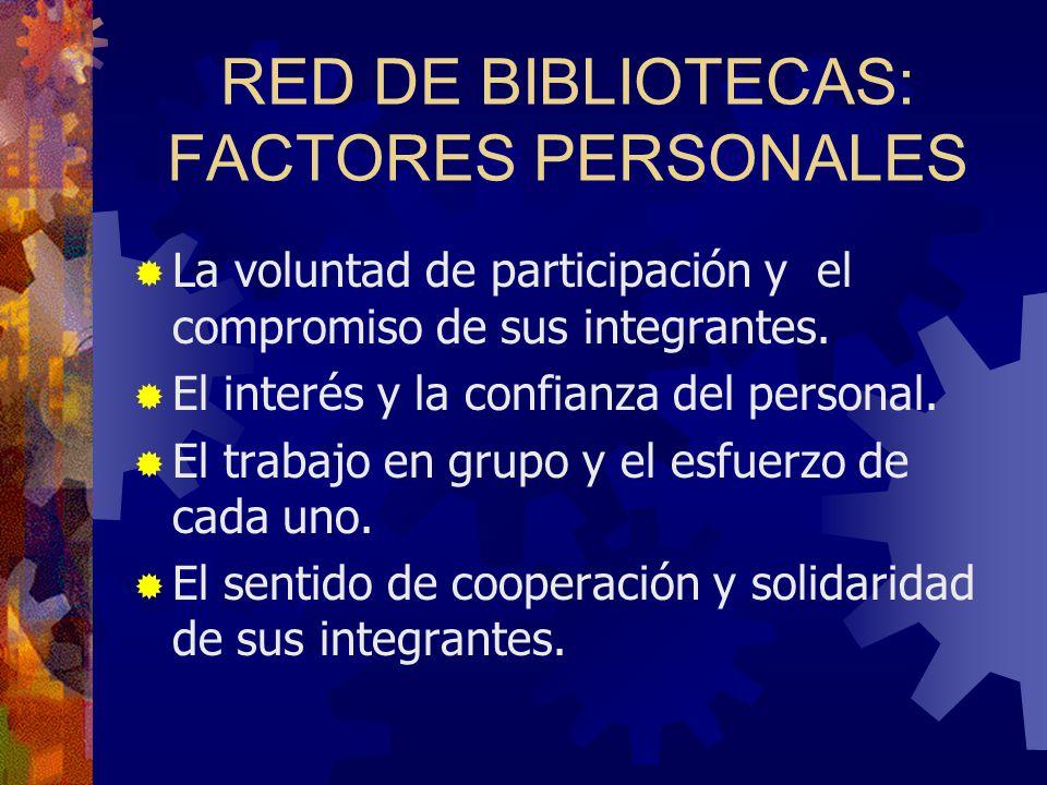 RED DE BIBLIOTECAS: FACTORES PERSONALES