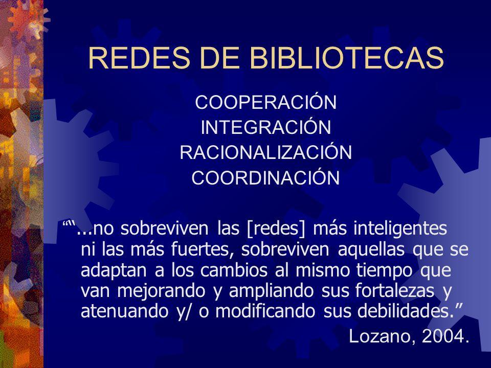 REDES DE BIBLIOTECAS COOPERACIÓN INTEGRACIÓN RACIONALIZACIÓN