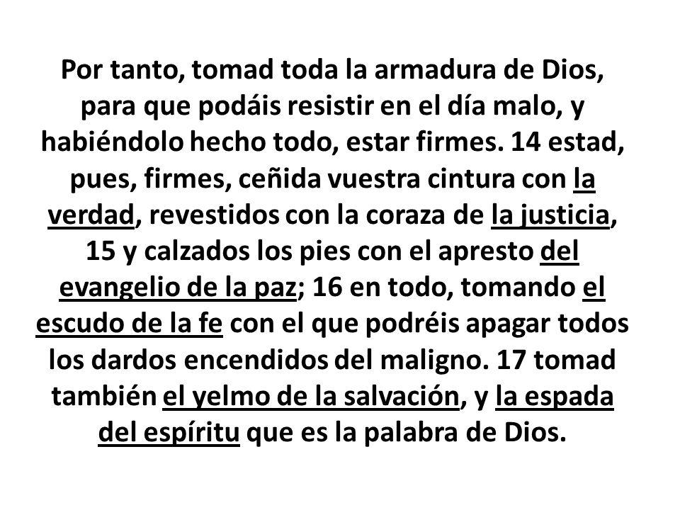 Por tanto, tomad toda la armadura de Dios, para que podáis resistir en el día malo, y habiéndolo hecho todo, estar firmes.