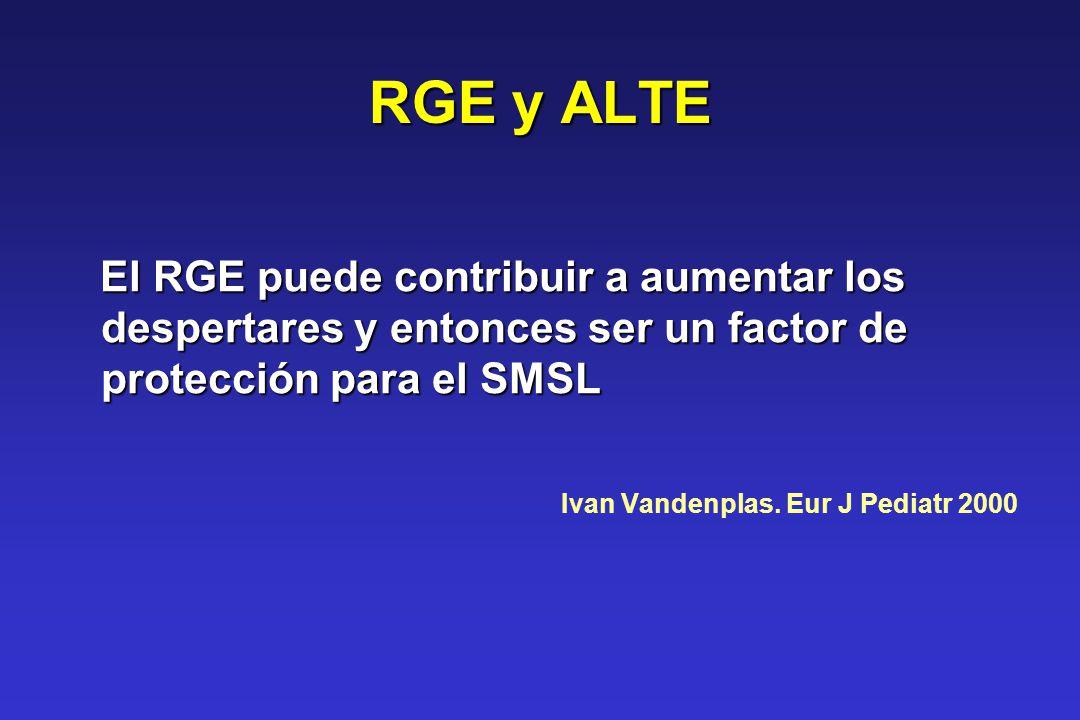 RGE y ALTE El RGE puede contribuir a aumentar los despertares y entonces ser un factor de protección para el SMSL.