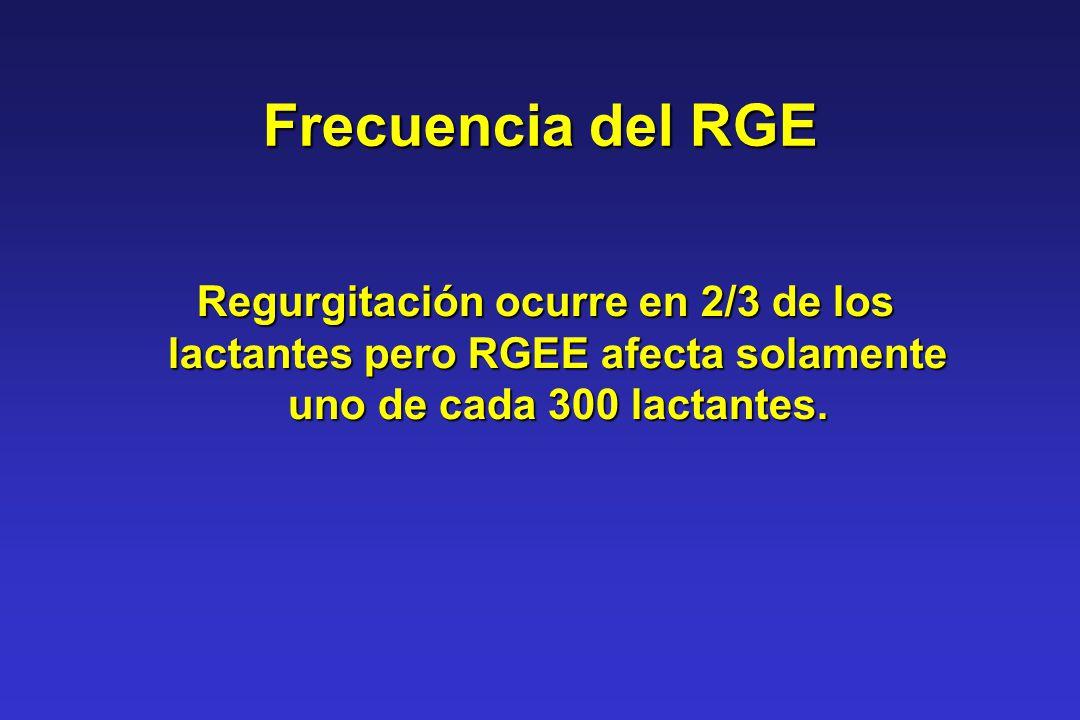 Frecuencia del RGE Regurgitación ocurre en 2/3 de los lactantes pero RGEE afecta solamente uno de cada 300 lactantes.