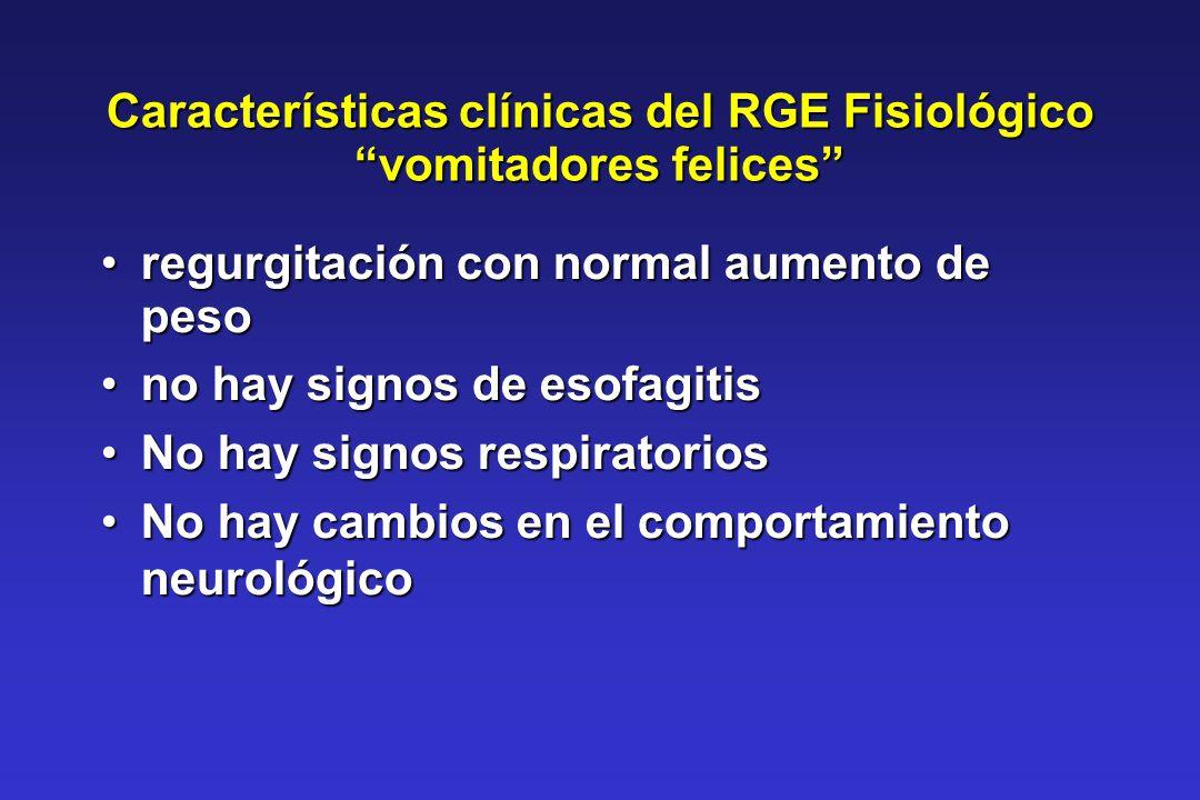 Características clínicas del RGE Fisiológico vomitadores felices