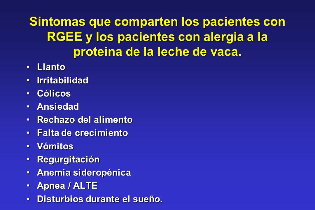 Síntomas que comparten los pacientes con RGEE y los pacientes con alergia a la proteina de la leche de vaca.